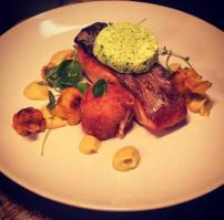 Roast Salmon with Curried Cauliflower, Salmon Fish Cake and Watercress Butter